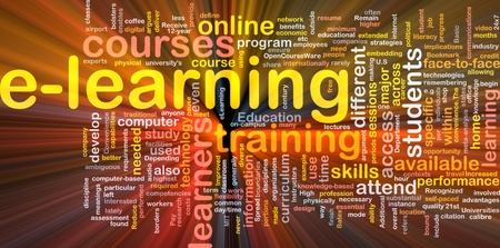 9464732 - background concept wordcloud illustration of e-learning glowing light