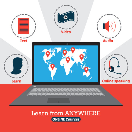 38336047 - infographic of online courses. learn from anywhere