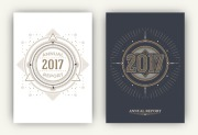 64270823 - 2017 - annual report flyers - sacred symbols design set - gold and white elements on dark and light background