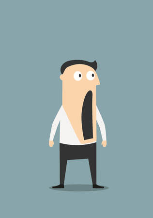 45597449 - surprised or shocked businessman with wide open mouth, for emotion expression concept design. cartoon flat character